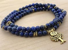 Lapis Lazuli Mala, 108 Wrap Bracelet, Wrist Mala Bracelet For spiritual awareness and connection to the highest realms Mala beads are more specifically known as japa malas. Japa is a Sanskrit word that means repetition. Mala beads are usually used for the repetition of a mantra
