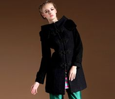 $68.99  Black Wool Princess Line Coat With Frog Closings#group buying#whatabeautifullife.com