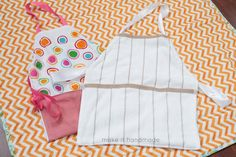 The 20 Minute Apron. Whip up these sweet aprons quickly! All it takes is a dishtowel, ribbon and a few fabric scraps