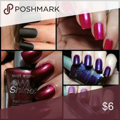 5pcs Wet n Wild Shine Nail Polish Bundle Wild Shine nail polish  Black Creme Frosted Fuchsia Eggplant frost Wild card (beautiful lavender shimmer) Burgundy Frost  ??Brand new High quality?? ??What u see is what u get?? ?10% off 2 or more? ?Please check out my closet? ?All prices have Been reduced? ?Buy with confidence ????? Top Rated Seller ?next day shipping I'm raising money for my family every like share n purchase is greatly Appreciated. wet n wild Makeup