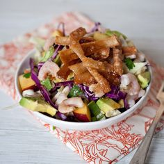 Chinese Chicken--err, Shrimp Salad! With peaches & avocado & the best & easiest homemade dressing!