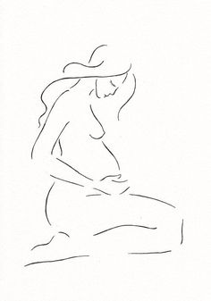 Pregnancy illustration. Minimalist nude sketch of a pregnant woman. Original artwork. A4 8.3 x 11.7''. Black and white ink drawing. - http://home-painting.info/pregnancy-illustration-minimalist-nude-sketch-of-a-pregnant-woman-original-artwork-a4-8-3-x-11-7-black-and-white-ink-drawing/