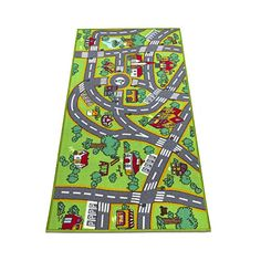 Kids Car Rugs, Extra Long Road & Traffic Play Mat Rug - Anti Skid Thick Woven Carpet Colorful City Street Theme for Playing with Cars and Toys - Promotes Educational and Imaginative Safe Fun Play Large Rugs, Creative Play, Carpet Colors, City Streets, Woven Rug, Kids House, Kids Playing, Boy Or Girl, Kids Rugs