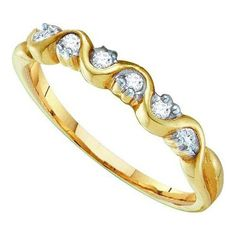 10k Yellow Gold 0.10Ctw Diamond Ladies Wedding Ring Band: Ring