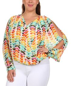 Another great find on #zulily! Yellow & Mint Herringbone Hi-Low Off-Shoulder Top - Plus #zulilyfinds