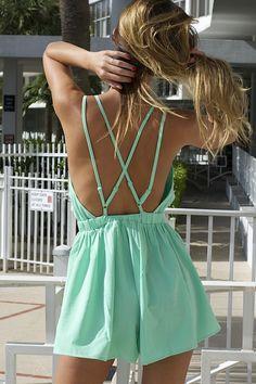 J'adore Cross Back Romper - Mint – Colors of Aurora