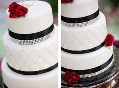 Simple and elegant black and white wedding cake