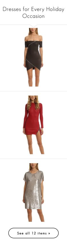 """""""Dresses for Every Holiday Occasion"""" by blueandcream ❤ liked on Polyvore featuring dresses, women, rta, surplice dress, cross over dress, leather zipper dress, leather dress, long sleeve dress, genuine leather dress and long sleeve slit dress"""