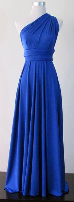 Long Plain Blue Dresses