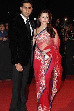 A perfect saree for a wedding reception (Aishwarya Rai seen here with her hubby Abhishek) - bollywoodshaadis.com