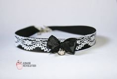 Choker Gothic Lolita Pastel Goth Black Collar Necklace with Lace Ribbon and bell kitten play pet play ddlg