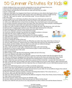50 Summer Activities For Kids - Great printable to add to your Summer bucket list!
