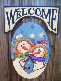 Snowman Couple Welcome Sign