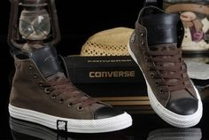 All Star Chucks Converse F4 Lovers Leather High Top Shoes 2015 Unque Design Brown and Black AFFYQC1313Ov9