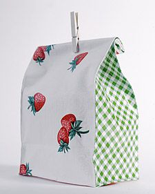 Home made oilcloth lunch bags. Could make in cute designs for the kids or could be a cute craft fair item.