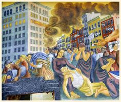 "Mural Detail of ""Triangle Shirtwaist Factory Fire,"" Ernest Fiene, 1940, mural"