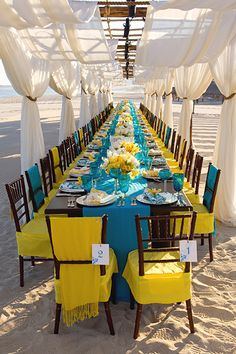Like the draping for a beach wedding. Colorblock Linen at beach ceremony // Photo: Simone and Martin Photography Blue Wedding, Summer Wedding, Wedding Colors, Peacock Wedding, Wedding Beach, Nautical Wedding, Wedding Hair, Wedding Outside, Wedding Planner
