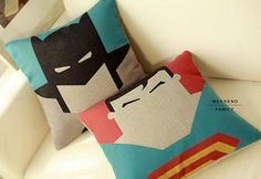nice linen super-hero pillows for kids room http://www.e-glue.fr/now/accessories/super-hero-pillows/6254