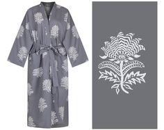 100% organic cotton: traditionally hand-printed Kimono robe.