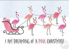 Santa's sleigh pulled by pink flamingos Tropical Christmas, Beach Christmas, Coastal Christmas, Noel Christmas, Pink Christmas, Christmas Humor, Winter Christmas, All Things Christmas, Christmas Flamingo