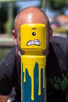 LEGO Spray Paint on Parking Bollard JOQUZ in Street Art - Urban