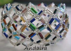 Cuff- Netted Rainbow Bugle Beads found at Andairadas.blogspot.com.es