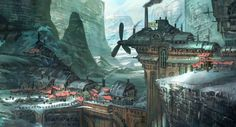 Tyler Edlin is a concept artist and illustrator residing in New England, US. His art include areas such as game illustrations, book cover, games characters… Fantasy City, Fantasy Places, Fantasy World, Environment Concept, Environment Design, Monuments, Steampunk Kunst, Steampunk City, Design Spartan