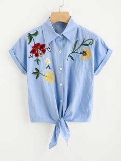 Blusa en denim bordada de flor con nudo delantero-Spanish SheIn(Sheinside)