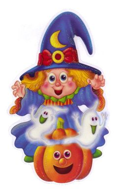 HALLOWEEN, CUTE WITCH, GHOST AND PUMPKINS, CLIP ART