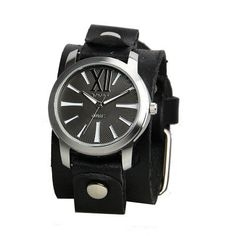 Nemesis Nemesis Women's Roman Black Leather Band Watch