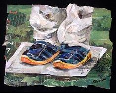 Eileen Downes artist collage shoes children torn paper painting