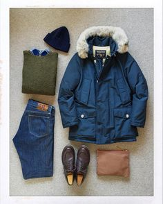 Today's Outfit.  #Woolrich #ArcticParka #PeterBlance Shaggy Dog Sweater #GitmanVintage Flannel BD-Shirts #Inverallan Wool Knit Cap #RRL Slim Fit Jeans #ArchivalClothing Zip Pouch #Paraboot Chambord  #OutFitoftheDay #OutFitGrid #OOTD #DailyFashion #Cordinate #Fashion #FashionPost #ファッション #コーディネート #ウールリッチ #ピーターバランス #ギットマンビンテージ #インバーアラン #ラルフローレン #アーカイバルクロージング #パラブーツ by the.daily.obsessions