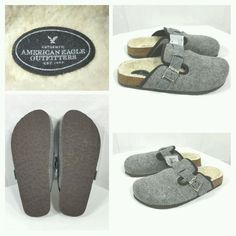 American Eagle Gray 90% Wool Clogs Mules Slip On Shoes Cork Bed Size 8 NWT #AmericanEagleOutfitters #Clogs #Casual