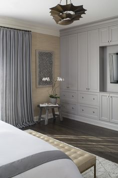 Bedroom Built Ins Around Bed Master Bedroom With Gray Built In Cabinets Bedroom Built Ins Around Bed Bedroom Built Ins, Master Bedroom Closet, Bedroom Wardrobe, Master Bedroom Design, Home Decor Bedroom, Bedroom Wall, Gray Bedroom, Bedroom Ideas, Wardrobe Wall
