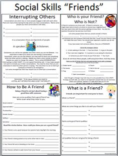 Printables Social Skills Worksheets For Middle School Students free friendship cards 24 social skills prompts to help your skills