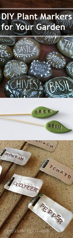DIY Plant Markers for Your Garden- I love the rocks! Creative plant labels and plant markers are a great way to mark your plants and garden. Garden Crafts, Garden Projects, Projects To Try, Plant Markers, Garden Markers, Herb Garden, Garden Art, Garden Design, Plant Labels
