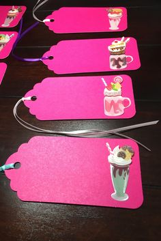 Ice Cream Sundae Tags, Ice Cream Favor Tags, Sundaes Gift Tags, Custom Printed Sundae Tags, Dessert Favor Tags, Kids Goodie Bag Tags-9/order Favor Tags, Gift Tags, Table Labels, Goodie Bags For Kids, Party Themes, Card Stock, Place Cards, Favors, Ice Cream