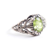 Vintage Sterling Silver Filigree Ring With Green Stone by MaejeanVINTAGE, $30.00