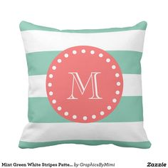 Shop Mint Green White Stripes Pattern, Coral Monogram Throw Pillow created by GraphicsByMimi. Coral Throw Pillows, Monogram Pillows, Custom Pillows, Decorative Throw Pillows, Pink And White Stripes, Bold Stripes, Navy Blue, Teal, Aqua