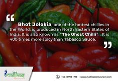 Spicy to Know!! India produces the Hottest Chillies in World. We are way spicier ahead than others!! #IncredibleIndia #hottestchillies #northeast #discovery #mindblowingfacts Relish choice of spicy and lip-smacking dishes at Mallikas Restaurant in Bukit Jalil, Malaysia.