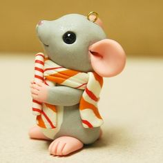 Mouse with Candy Cane Ornament by Shelly Schwartz by rainabedaina