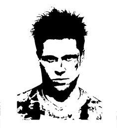 Brad Pitt Fight Club Stencil