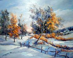 Grande Hermosa Golden escena de nieve Paisaje Lienzo Arte