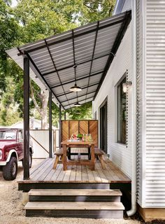 House Front Porch Design Ideas – Outdoor And Patio Ideas, Designs and DIY Plans. Porch Roof Styles, Porch Roof Design, Patio Design, Backyard Shade, Patio Shade, Backyard Patio, Building A Porch, Shade Structure, Roof Structure