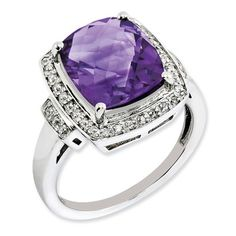 925 Sterling Silver Tapered Shank Halo Amethyst and Diamond Ring