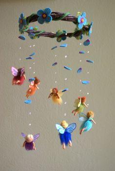 fun flower craft baby mobile as flower chandelier nursery mobile for elegant baby bedroom decor part 2 15 Felt Mobile, Baby Mobile, Felt Crafts, Diy And Crafts, Arts And Crafts, Rainbow Fairies, Flower Chandelier, Felt Fairy, Felt Dolls