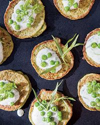 Mini Pea Pancakes with Herbed Yogurt // Cookbook author Georgia Pellegrini purees sweet peas into the batter of her delicate mini pancakes, which are just as good with herbed yogurt as with smoked salmon. Pea Recipes, Yogurt Recipes, Wine Recipes, Vegetarian Recipes, Cooking Recipes, Vegetarian Brunch, Easy Cooking, Cooking Ideas, Soup Recipes