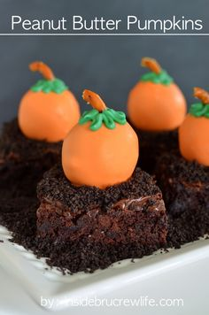 Peanut Butter Pumpkins - peanut butter candy truffles rolled to look like pumpkins and dipped in orange candy melts from Inside BruCrew . Pumpkin Recipes, Fall Recipes, Holiday Recipes, Thanksgiving Recipes, Holiday Treats, Holiday Fun, Yummy Recipes, Halloween Desserts, Halloween Ideas