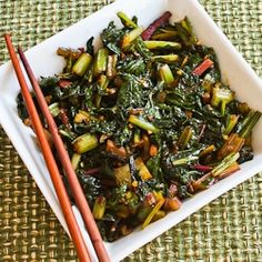 Spicy Asian Stir-Fried Swiss Chard Recipe (Low-Carb, Gluten-Free, Dairy-Free) [from KalynsKitchen.com]