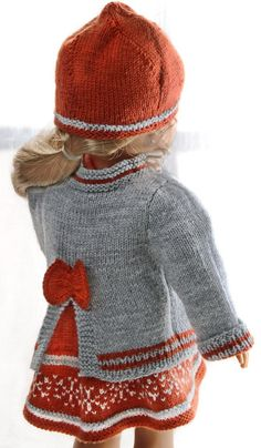 Crochet Baby Girl Sweater Doll Clothes Ideas For 2019 Baby Knitting Patterns, Baby Cardigan Knitting Pattern, American Doll Clothes, Girl Doll Clothes, Girl Dolls, Doll Clothes Patterns, Doll Patterns, Baby Born Kleidung, Baby Girl Sweaters